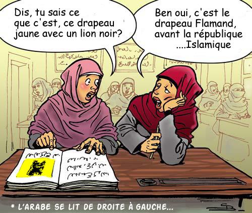 """""""Zeg, weet jij wat deze gele vlag met zwarte leeuw is?""""  """"Maar ja, het is de Vlaamse vlag van voor de Islamitische republiek."""""""