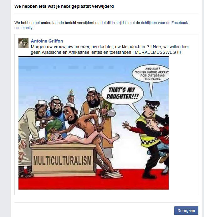 screenshot facebook blokkering wegens cartoon antoine_griffon