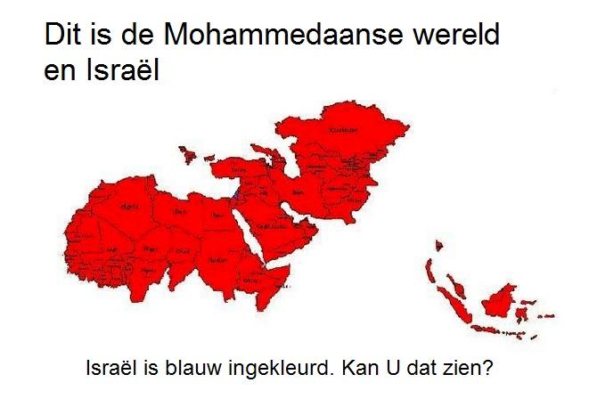 Israel is blauw gekleurd